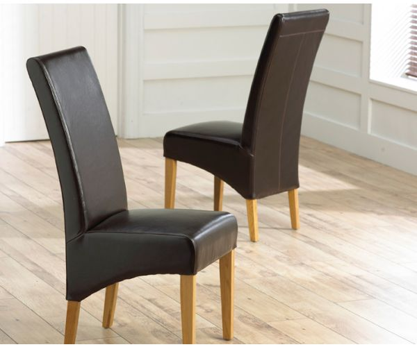 Mark Harris Roma Brown Leather Dining Chair in Pair