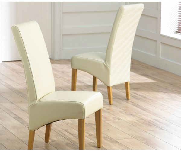 Mark Harris Roma Cream Leather Dining Chair in Pair