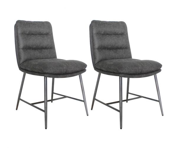 Vida Living Romy Hickory Fabric Dining Chair in Pair