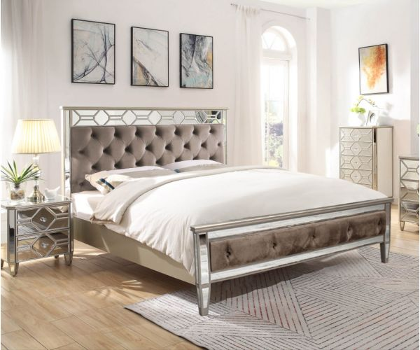 Vida Living Rosa Mirrored Bed Frame