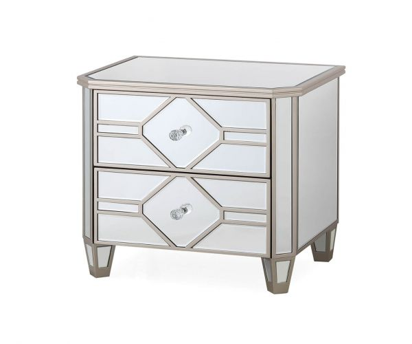 Vida Living Rosa Mirrored 2 Drawer Bedside Table