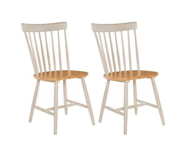 Annaghmore Rosa Stone Grey and Oak Dining Chair in Pair