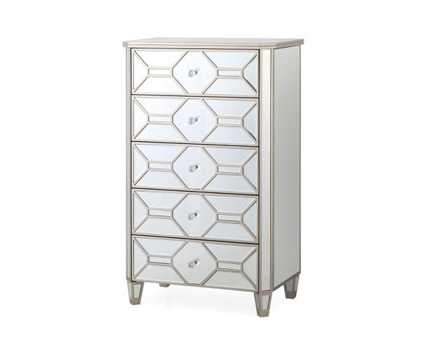 Vida Living Rosa Mirrored 5 Drawer Tall Chest