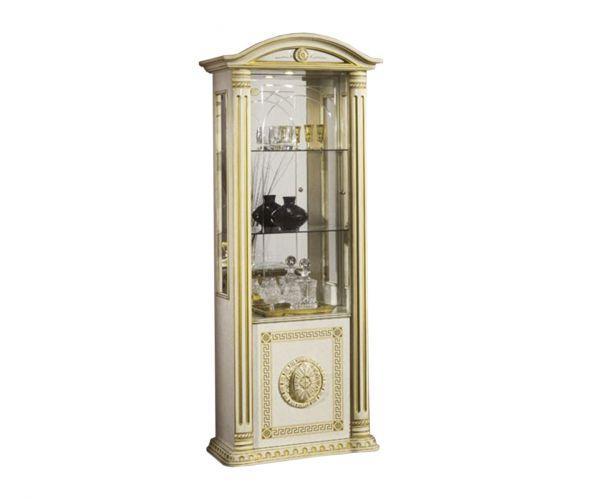 H2O Design Rossella Beige Radica Gold Italian 1 Door Vitrine
