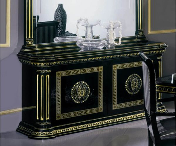 H2O Design Rossella Black and Gold Italian 4 Door Buffet