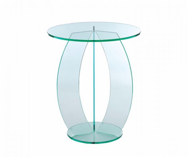 Greenapple Furniture Clear Glass Round Table with C Shaped Base