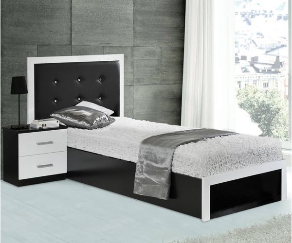 Dima Mobili Ruby Black and White Single Bed Frame