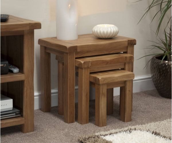 Homestyle GB Rustic Oak Nest Of Tables