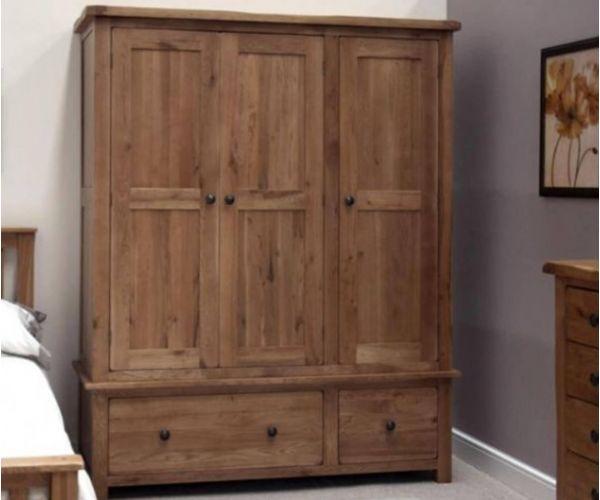 Homestyle GB Rustic Oak Triple Wardrobe