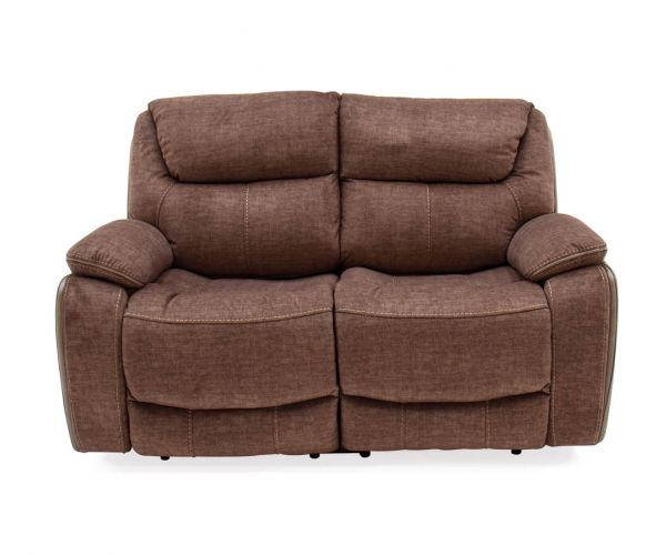 Vida Living Santiago Brown Fabric Recliner 2 Seater Sofa