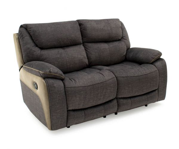 Vida Living Santiago Grey Fabric Recliner 2 Seater Sofa
