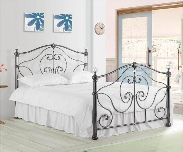 Sareer Cadiz Black Nickel Metal Bed Frame