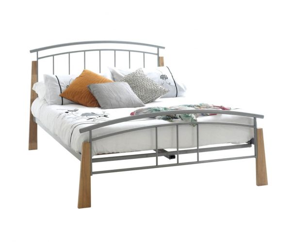 Sareer Jose Beech Wood and Metal Bed Frame