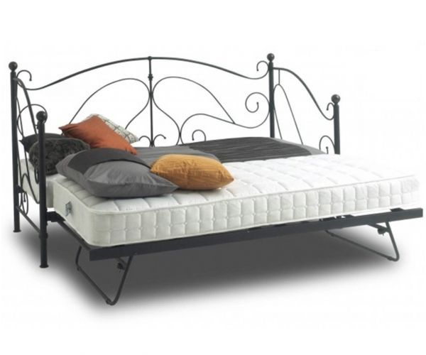 Sareer Milano Black Metal Day Bed with Trundle