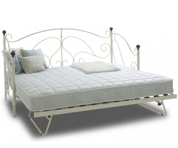 Sareer Milano Cream Metal Day Bed with Trundle
