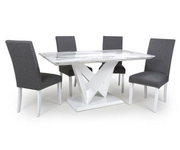 Shankar Saturn Marble Effect Medium Dining Table with 4 Randall Linen Effect Silver Grey Chair