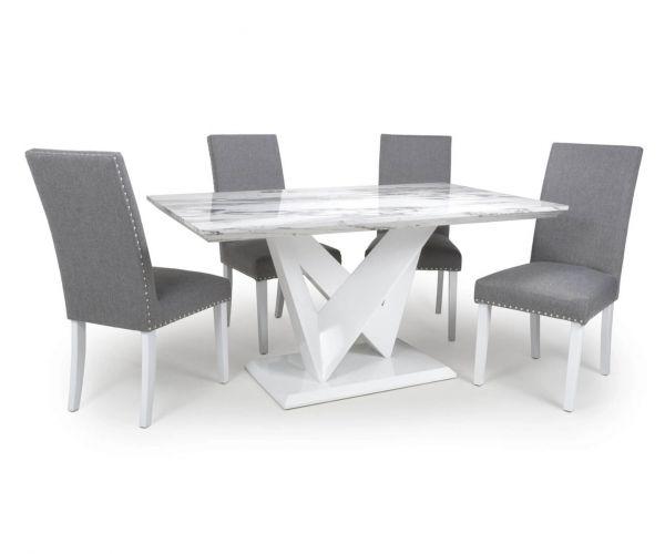 Shankar Saturn Marble Effect Medium Dining Table with 4 Randall Linen Effect Steel Grey Chair
