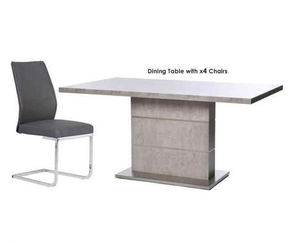 Furniture Line Seattle Rectangular Dining Set with 4 Grey Chairs - 160cm