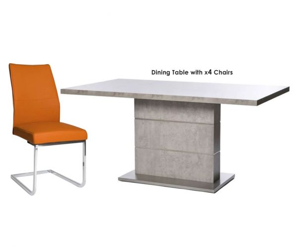 Furniture Line Seattle Rectangular Dining Set with 4 Orange Chairs - 160cm