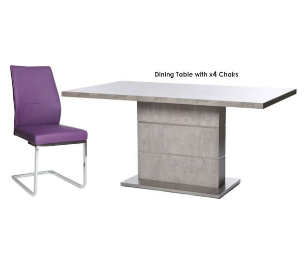 Furniture Line Seattle Rectangular Dining Set with 4 Purple Chairs - 160cm