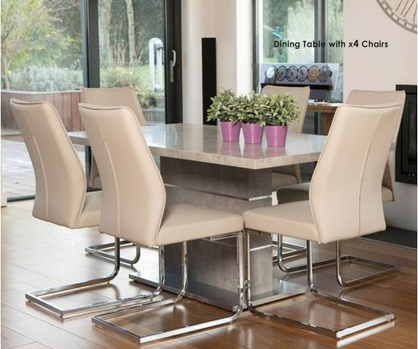Furniture Line Seattle Rectangular Dining Set with 4 Taupe Chairs - 160cm