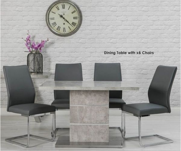 Furniture Line Seattle Rectangular Dining Set with 6 Grey Chairs - 120cm