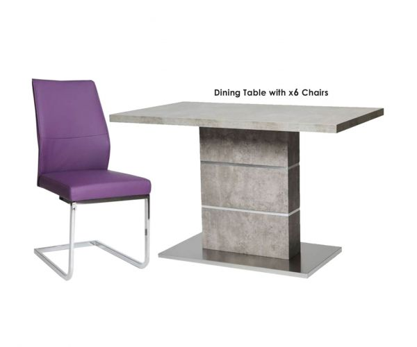 Furniture Line Seattle Rectangular Dining Set with 6 Purple Chairs - 120cm