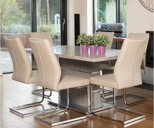 Furniture Line Seattle Rectangular Dining Set with 6 Taupe Chairs - 160cm