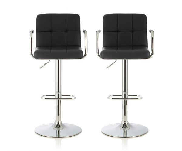 Serene Furnishings Sequoia Black Faux Leather Bar Stool in Pair