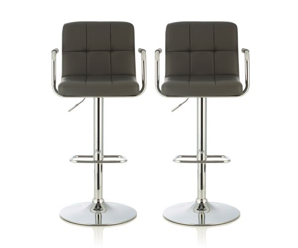 Serene Furnishings Sequoia Grey Faux Leather Bar Stool in Pair