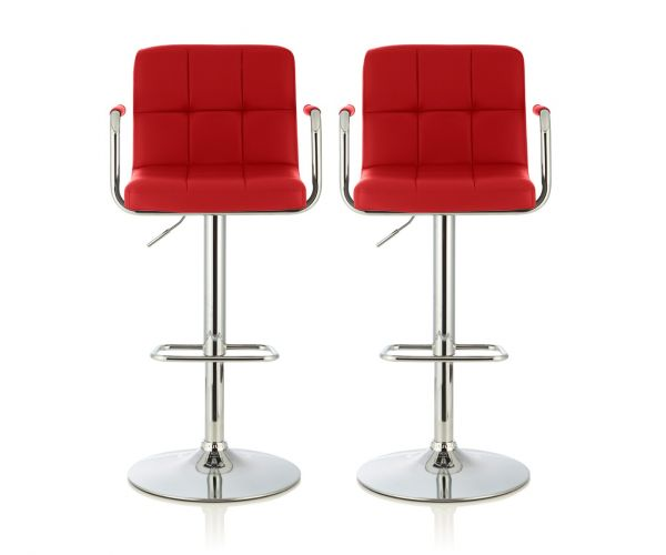 Serene Furnishings Sequoia Red Faux Leather Bar Stool in Pair