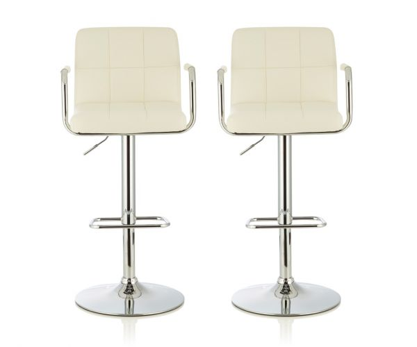 Serene Furnishings Sequoia White Faux Leather Bar Stool in Pair