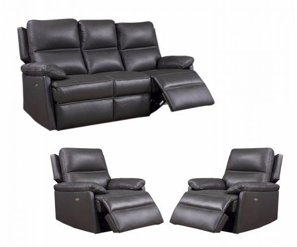 Furniture Link Bailey Grey Leather 3E+1E+1E Sofa Set