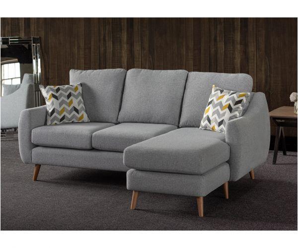 Sweet Dreams Severn Silver Fabric Corner Chaise Sofa
