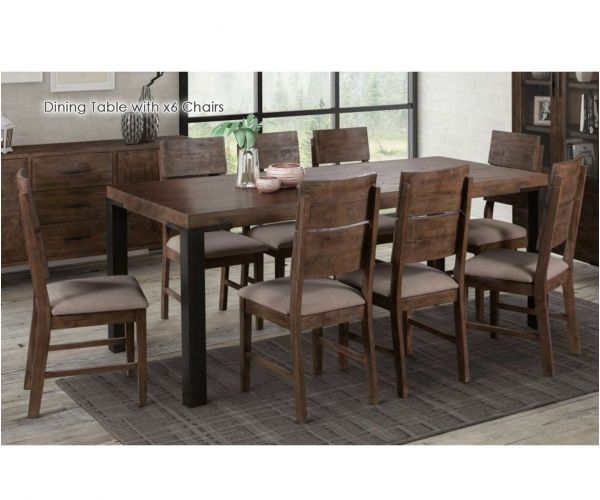 Annaghmore Seville Dark Pine 160cm Dining Table with 6 Dining Chairs