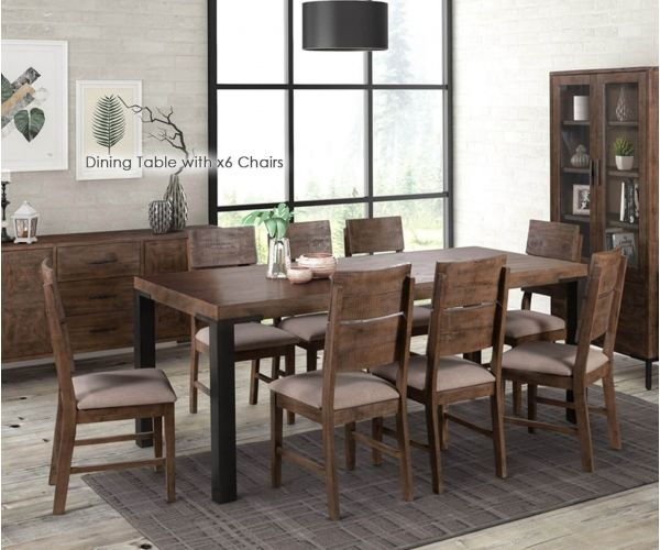 Annaghmore Seville Dark Pine 200cm Dining Table with 6 Dining Chairs