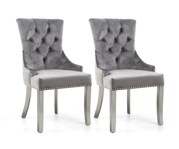 Shankar Chester Brushed Velvet Grey Accent Chair with Silver Stainless Steel Legs