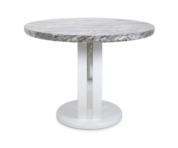 Shankar Neptune Grey and White High Gloss Round Marble Effect Top Dining Table