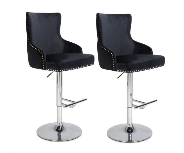 Shankar Sirocco Brushed Velvet Black Bar Stool in Pair