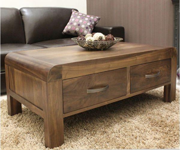 Baumhaus Shiro Walnut 4 Drawers Coffee Table