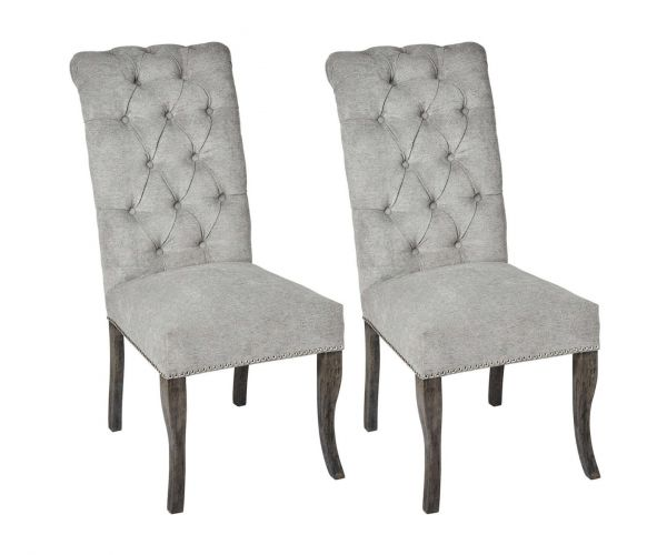 Silver Roll Top with Ring Pull Dining Chair in Pair