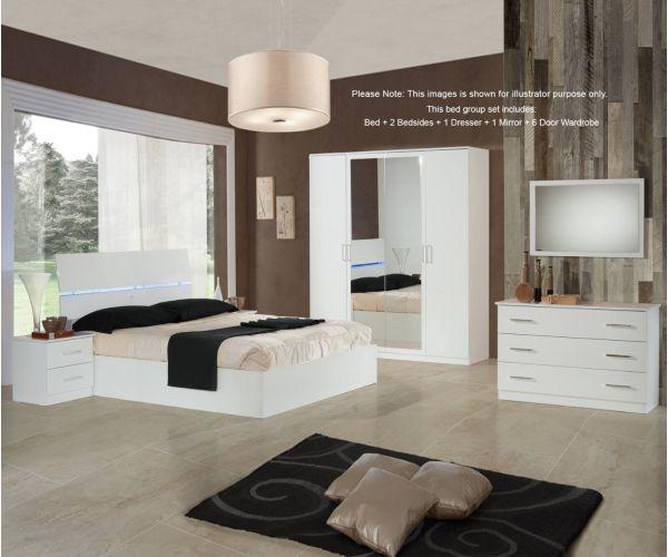 Ben Company Simona White Finish Bed Group Set with 6 Door Wardrobe