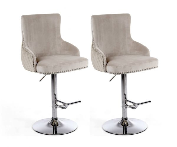 Shankar Sirocco Brushed Velvet Mink Bar Stool in Pair