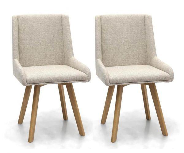 Shankar Skandi Natural Fabric Dining Chair in Pair