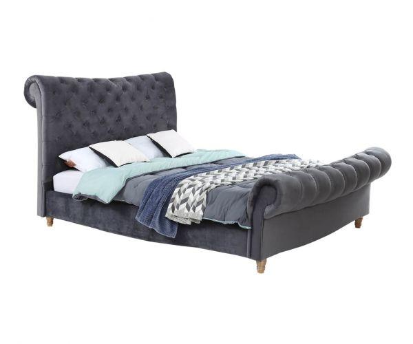 Vida Living Sloane Grey Velvet Fabric Bed Frame