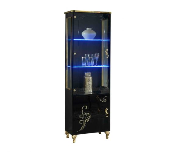 Ben Company Sofia Black and Gold Italian 1 Door Vitrine