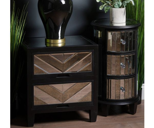 Soho Black Collection 2 Drawer Bedside Table