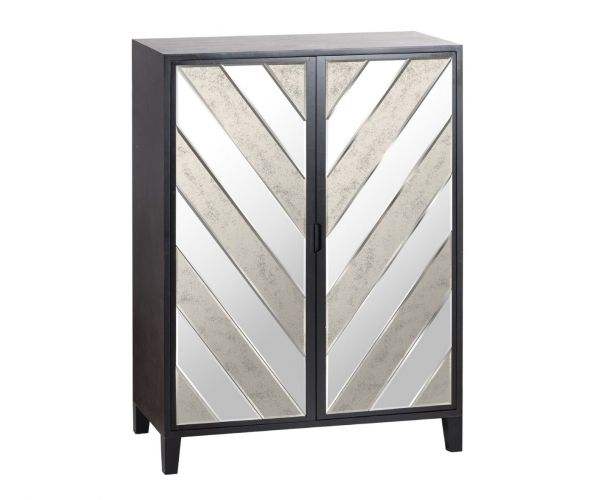 Soho Black Collection Large 2 Door Bar Cabinet