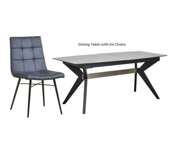 Mark Webster Soho Concrete Effect Rectangular Extending Dining Set with 4 Grey Faux Leather Chairs