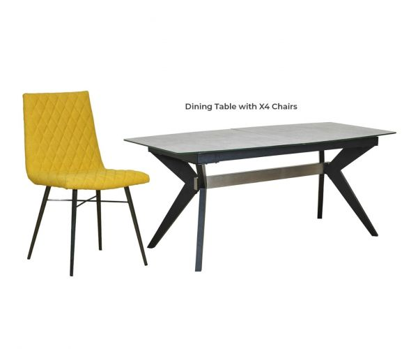 Mark Webster Soho Concrete Effect Rectangular Extending Dining Set with 4 Yellow Fabric Chairs